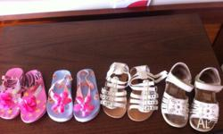 4 pair of used sandals size 8 , 3 -4 year old pick up
