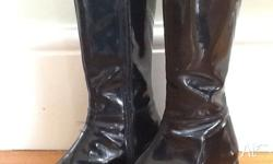 Black patent leather boots size 5/6 with leather