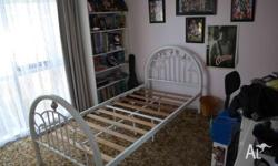 Girls single bed frame, white bed frame (steel) with