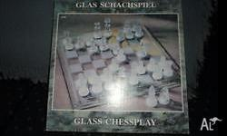 Glass Chess set on glass board with 1 set of frosted