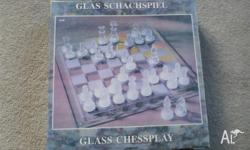 brand new glass chess set paid $39.95 (price still on