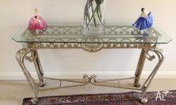 1 Metal Antiqued Bevilled Glass top Hall Stand.