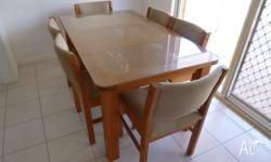 Glass Top Wooden Table and Six Chairs, 1540L x 900W x