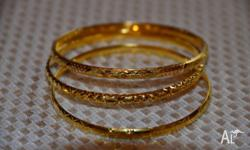 "3 Gold bangles, all 22ct yellow gold (stamped ""916"")"
