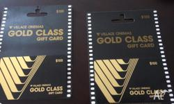 2 Village Cinemas Gold Pass Gift Cards. one expires