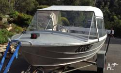 Savage 13ft Alumunium runabout, 20 HP Electric Start
