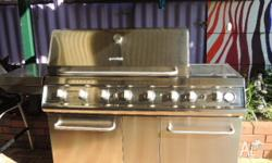 Grand Hall Stainless Steel BBQ, 6 Burners plus side Wok