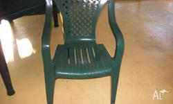 Green Plastic Table & 6 Chairs. Table is in just