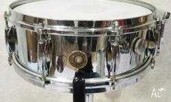 Gretsch 1961 Vintage Roundbadge Brass Snare. Chrome