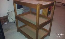 3-tier solid timber change table. Comes with change