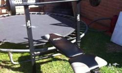 - Gym bench with free weights - $60, still in good