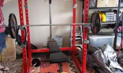 Heavy duty cage (red) with 205kg's of weights, plus