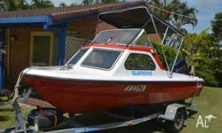 4.6M HALF CABIN WITH 60HP EVINRUDE MOTOR ON 2007