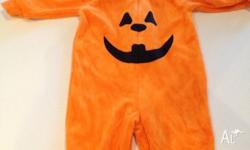 Halloween pumpkin onesie for a baby about 3 - 6 months