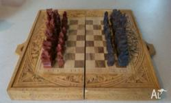 Hand carved, authentic Balinese chess set. See photos