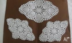 This doily set was crochet in the 1970's, it is white