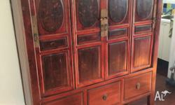 Beautiful hand painted antique Chinese wedding cabinet