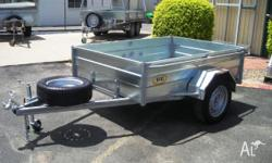 HANS - 7x5 H/Side- Tilt Box Trailer with Jockey & Spare