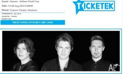 Selling 1 dancefloor general admission ticket to Hanson