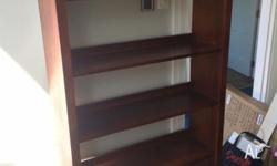 H 1840mm, W 960mm, D 320mm Stained hardwood bookcase in
