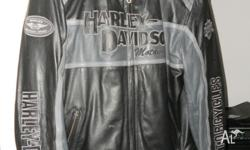Genuine Harley Davidson Grey and Black leather
