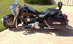 Harley Road King fitted with padded back rest and sissy