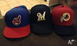 Selling these fitted sports hats. All three are 8 inch,