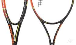 The racquet is the latest available model, strung with