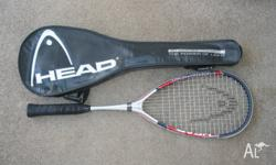 Head graphite squash racquet with cover. In good