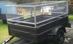 HEAVY DUTY 8 X 5 CAGED TRAILER EXTENED DRAW BAR, 2011,