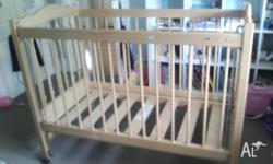 High quality timber baby cot with mattress in great