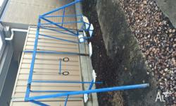 Hills swing set, blue and white, plastic has faded but