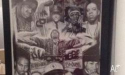 Sketched long portrait of various hip hop artists,
