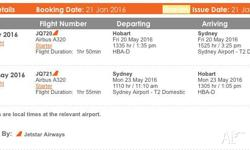 Selling some flights to Sydney - unable to change the