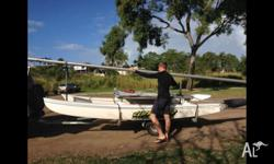 Hobie cat 14ft ready to sail. On trailer with beach