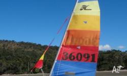 14' Hobie Cat for sale in Mackay. On road trailer, 1