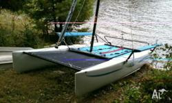 Very good condition Hobie Getaway catamaran. Front and