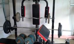 Power Rack / Home Gym / With Adjustable Bench and 130Kg