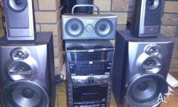 *JVC* HOME THEATER SYSTEM. Plays DVD, USB, Tape and