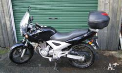 CBF250 2006 Black. With screen, carrier, top box,