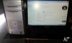 "UP FOR SALE IS A DELL DUAL-CORE DESKTOP PC WITH 19""INCH"