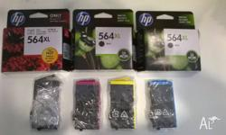 3 New Cartriges and 4 Half Full Compatible With: HP