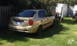 Accent 2003 - rego due. Runs well, transmission needs