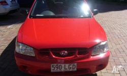 HYUNDAI, ACCENT, LC, 2001, FWD, Red, Grey trim, 4D