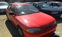 HYUNDAI,EXCEL,1995, FWD, Red, Grey trim, 3D HATCHBACK,
