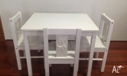 IKEA Kritter Wooden White Table and 3x Chairs. Table