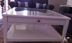 95cm x 95cm square white coffee table, glass top with 4