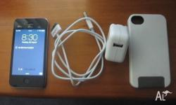 IPHONE 4 16 GIG WITH CHARGER USB CABLE WHITE BUMPER