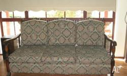 3 Seater Lounge & 2 Chairs c/w rattan inserts, in very