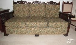 JACOBEAN OR TUDOR OAK LOUNGE SUITE Couch and two
